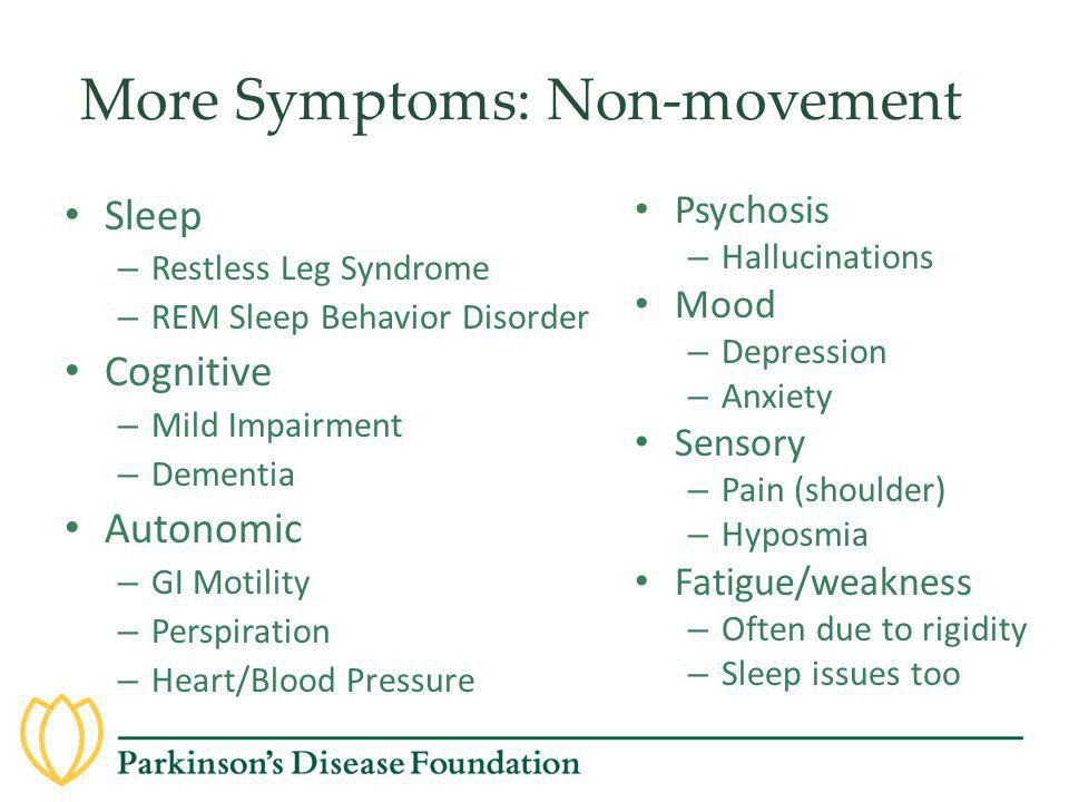More Symptoms: Non-movement Sleep – Restless Leg Syndrome – REM Sleep Behavior Disorder Cognitive – Mild Impairment – Dementia Autonomic – GI Motility