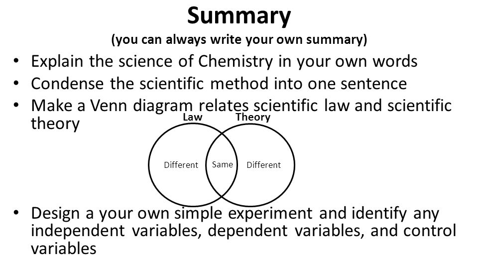Summary (you can always write your own summary) Explain the science of Chemistry in your own words Condense the scientific method into one sentence Ma