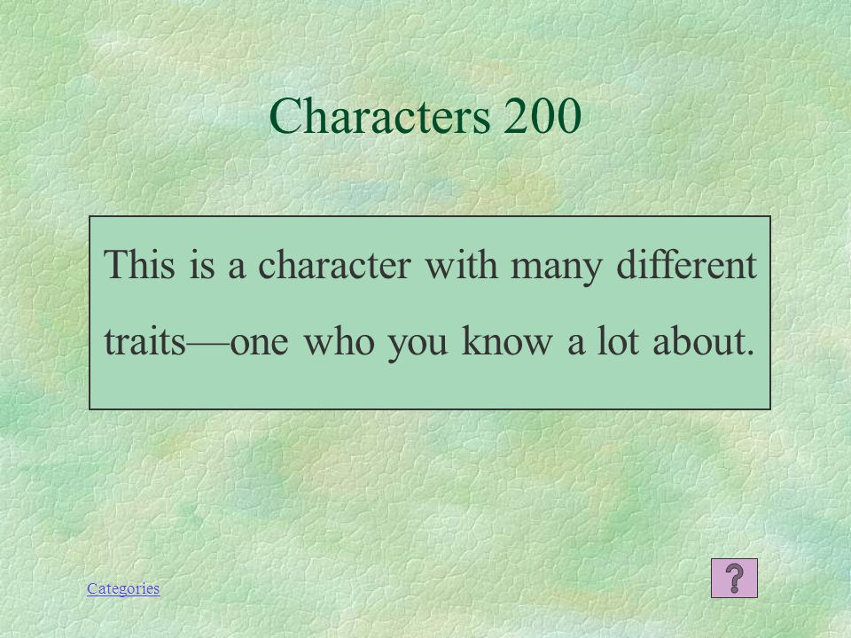 Categories Characters 100 What is protagonist