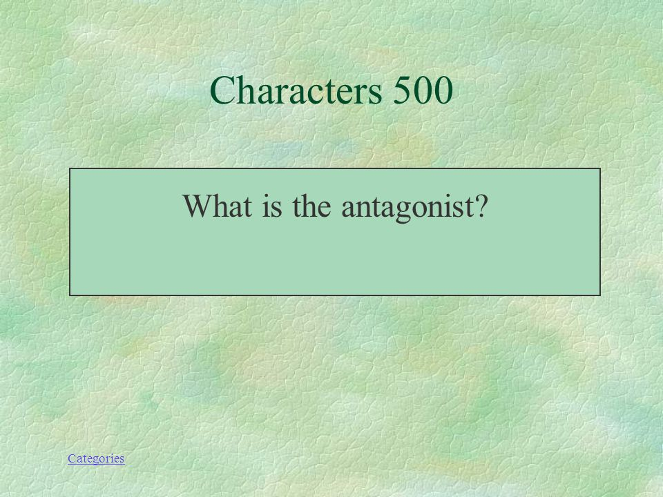 Categories This is the character that is opposite the main character. Characters--500