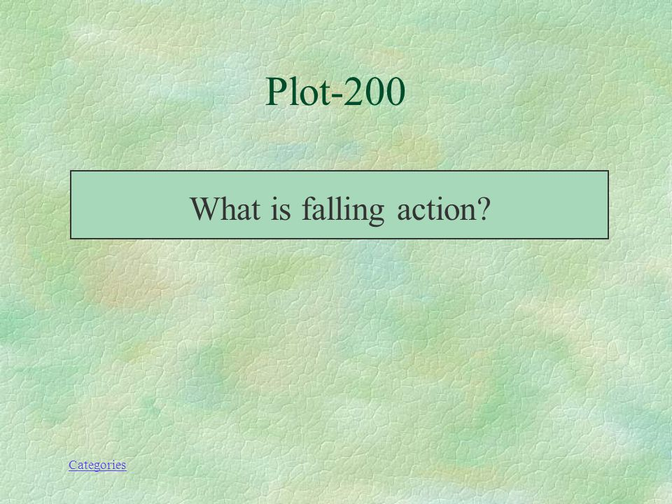 Categories Plot 200 Action that occurs as a result of the climax.