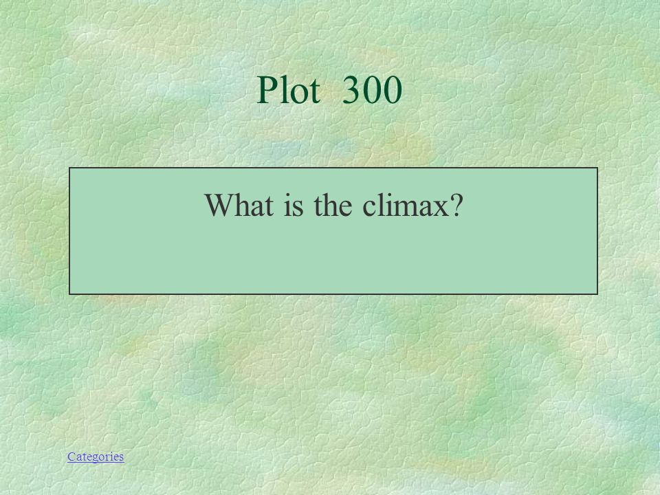 Categories Plot--300 This the point in the story when you are going to find out the outcome of the conflict—also the emotional high point.