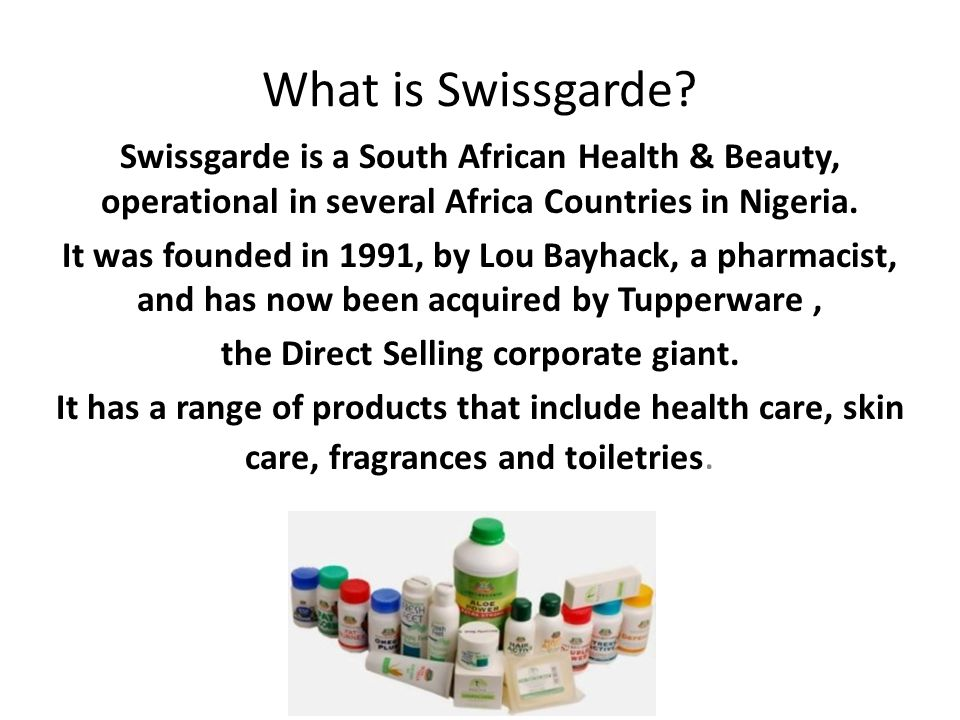 What is Swissgarde? Swissgarde is a South African Health & Beauty, operational in several Africa Countries in Nigeria. It was founded in 1991, by Lou