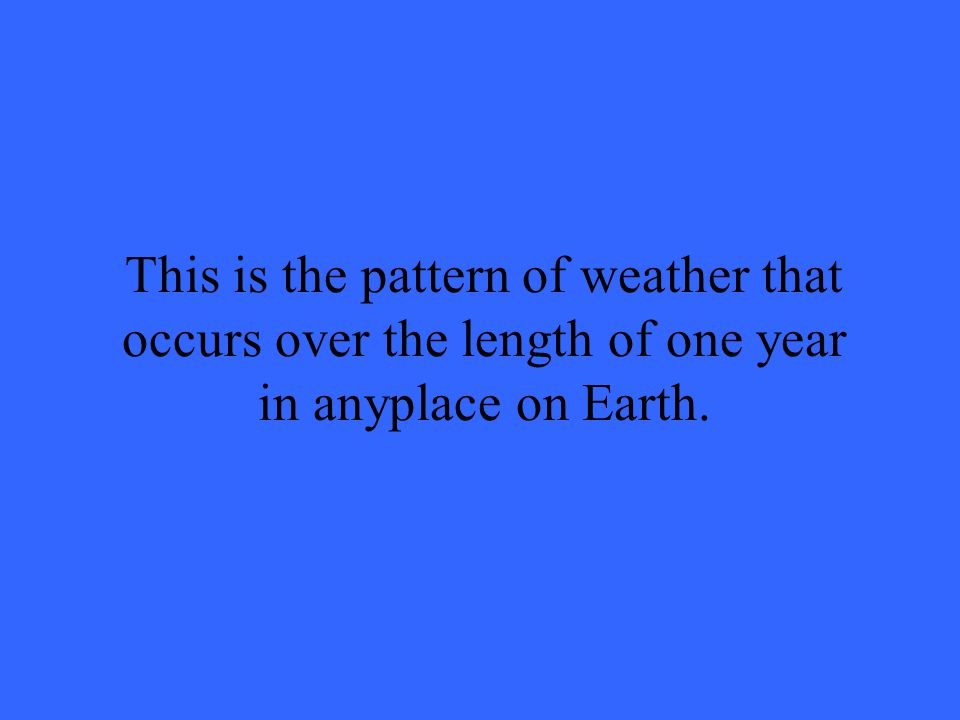 This is the pattern of weather that occurs over the length of one year in anyplace on Earth.