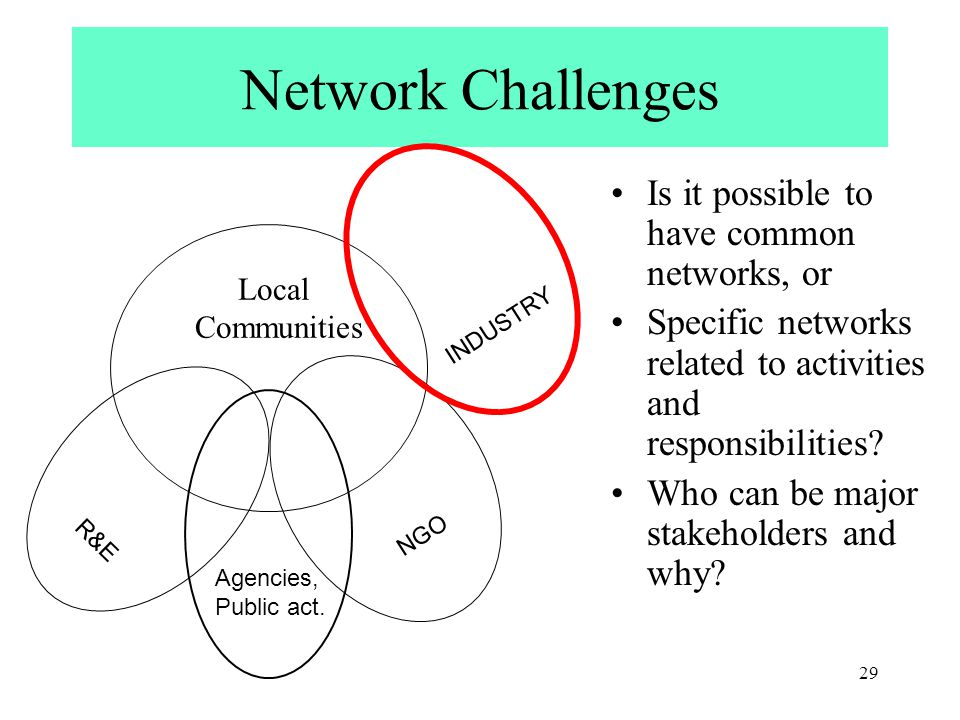 29 NGO R&E Network Challenges Is it possible to have common networks, or Specific networks related to activities and responsibilities.