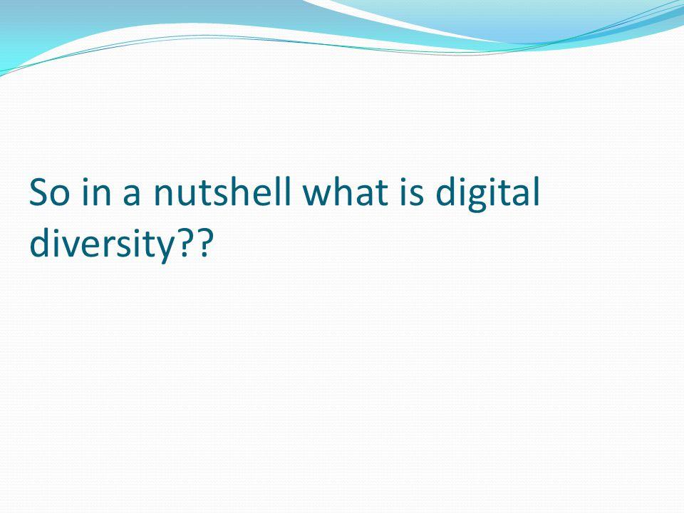So in a nutshell what is digital diversity??