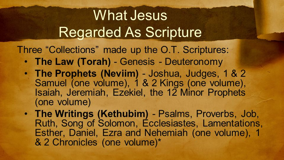What Jesus Regarded As Scripture Three Collections made up the O.T.