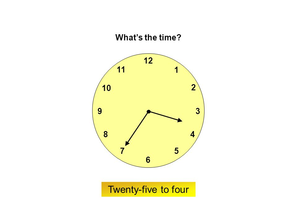 9 6 12 3 7 8 2 1 5 4 10 11 ? What's the time? Twenty-five to nine