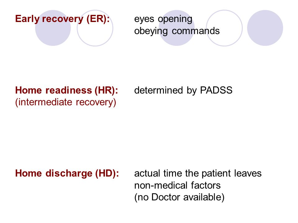 Early recovery (ER): eyes opening obeying commands Home readiness (HR):determined by PADSS (intermediate recovery) Home discharge (HD): actual time th