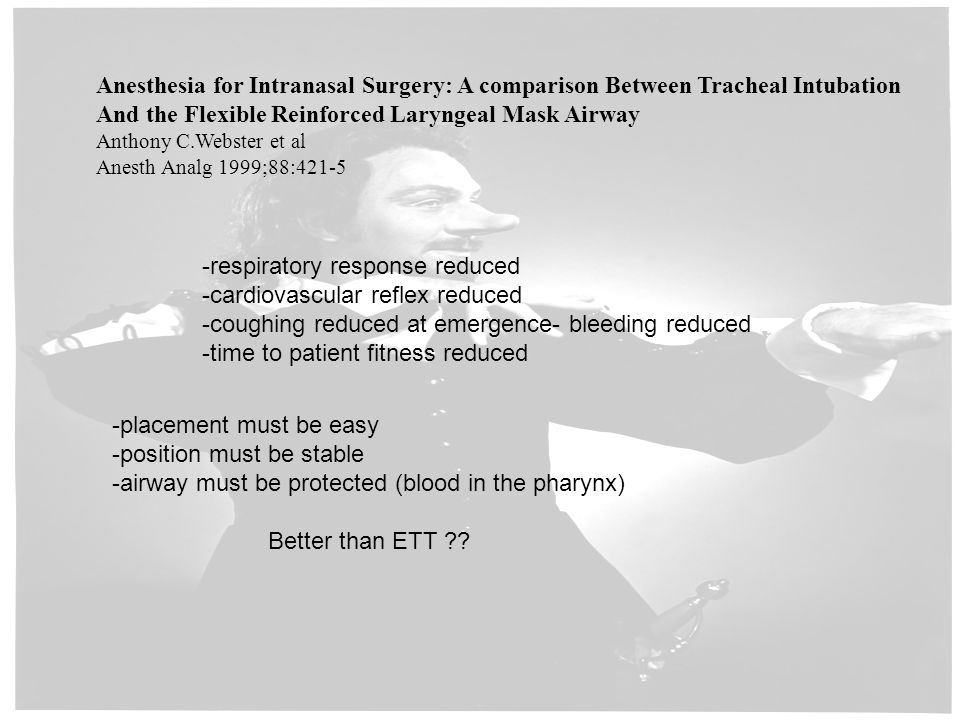 Anesthesia for Intranasal Surgery: A comparison Between Tracheal Intubation And the Flexible Reinforced Laryngeal Mask Airway Anthony C.Webster et al