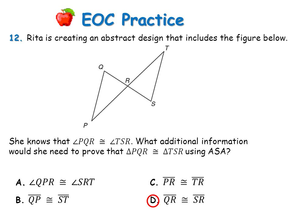 12. 12. Rita is creating an abstract design that includes the figure below. EOC Practice