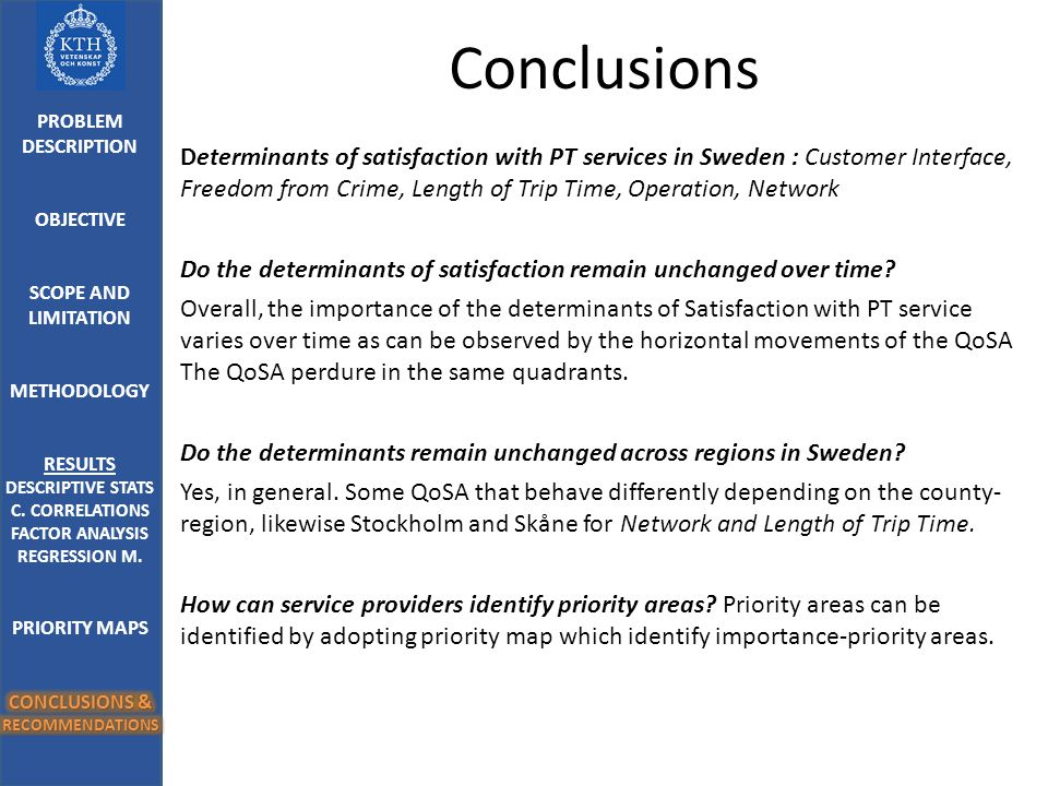 Conclusions Determinants of satisfaction with PT services in Sweden : Customer Interface, Freedom from Crime, Length of Trip Time, Operation, Network Do the determinants of satisfaction remain unchanged over time.