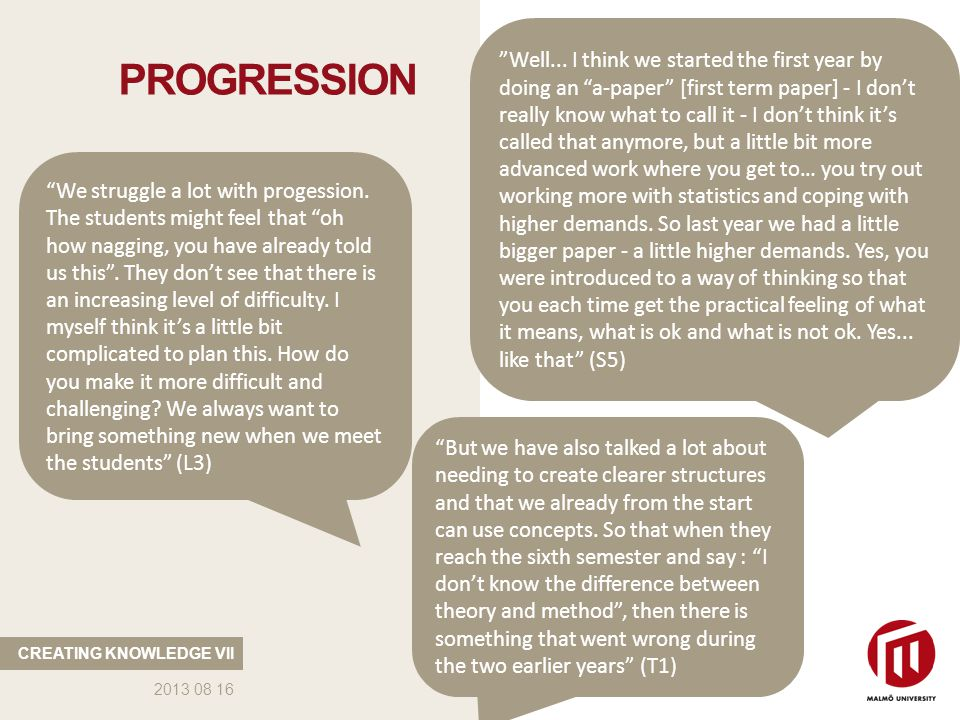 PROGRESSION CREATING KNOWLEDGE VII 2013 08 16 Well...