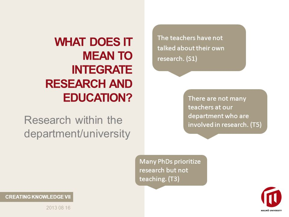 WHAT DOES IT MEAN TO INTEGRATE RESEARCH AND EDUCATION.