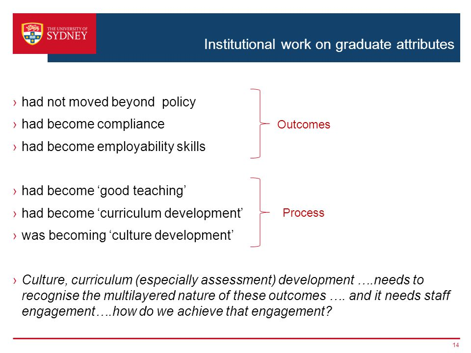 Institutional work on graduate attributes ›had not moved beyond policy ›had become compliance ›had become employability skills ›had become 'good teaching' ›had become 'curriculum development' ›was becoming 'culture development' ›Culture, curriculum (especially assessment) development ….needs to recognise the multilayered nature of these outcomes ….