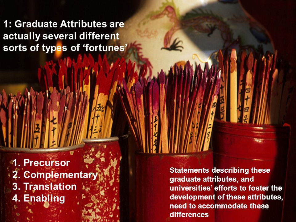 5 1: Graduate Attributes are actually several different sorts of types of 'fortunes' Statements describing these graduate attributes, and universities' efforts to foster the development of these attributes, need to accommodate these differences 1.Precursor 2.Complementary 3.Translation 4.Enabling