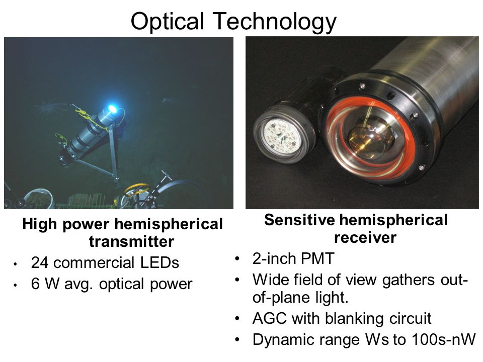Sensitive hemispherical receiver 2-inch PMT Wide field of view gathers out- of-plane light. AGC with blanking circuit Dynamic range Ws to 100s-nW Opti