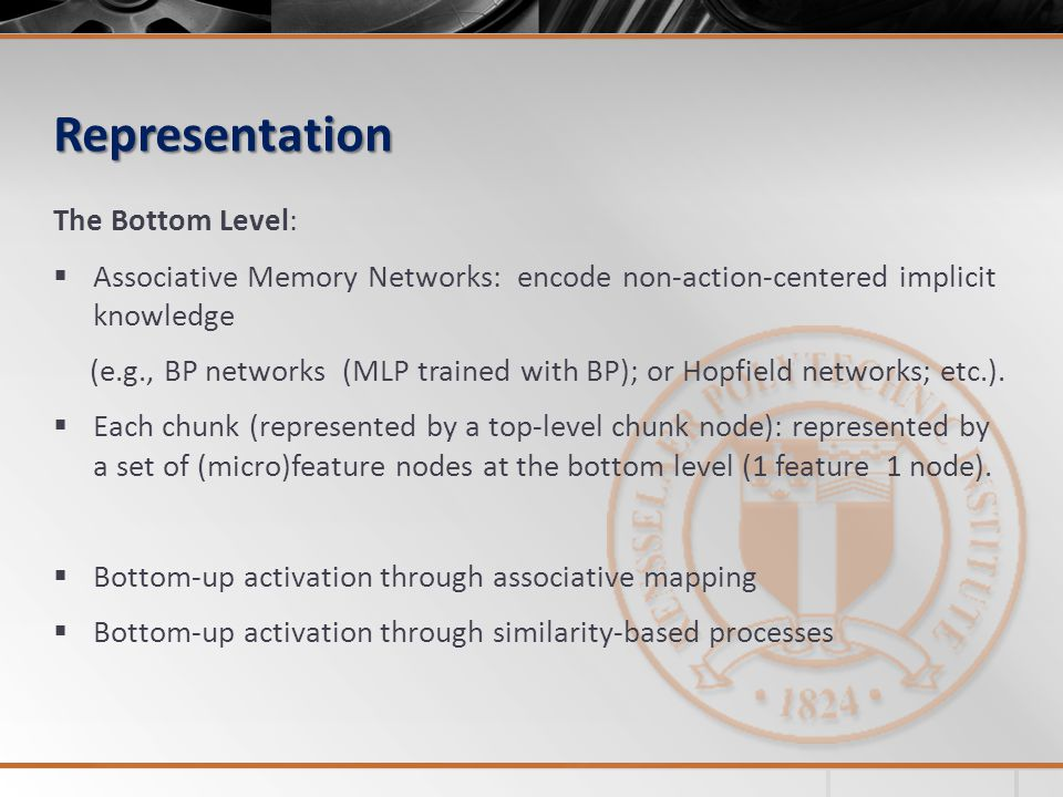 Representation The Bottom Level:  Associative Memory Networks: encode non-action-centered implicit knowledge (e.g., BP networks (MLP trained with BP); or Hopfield networks; etc.).