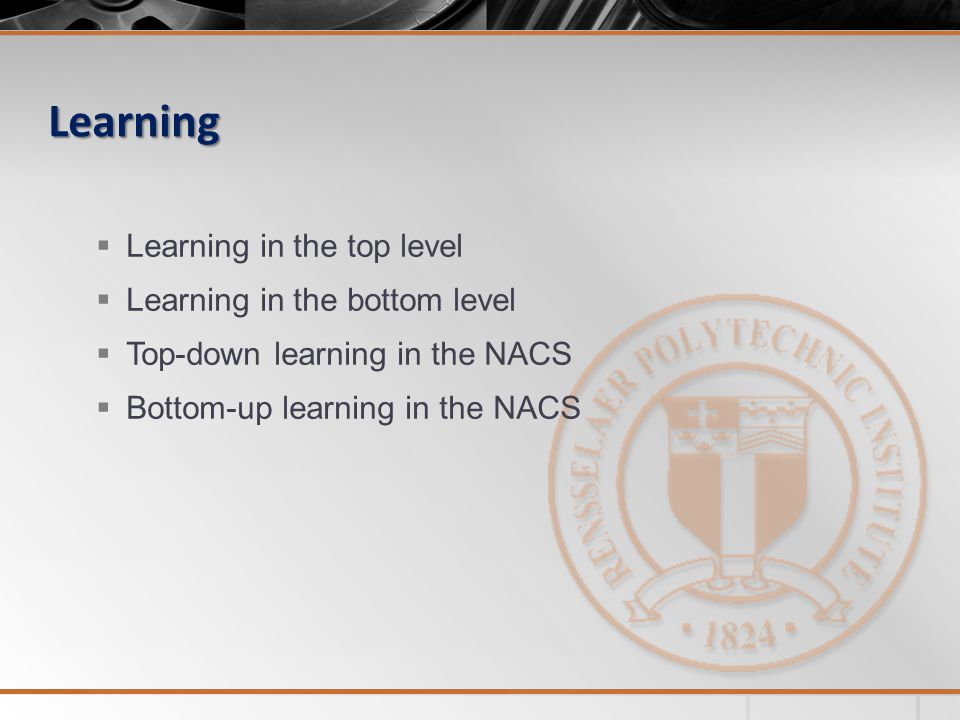 Learning  Learning in the top level  Learning in the bottom level  Top-down learning in the NACS  Bottom-up learning in the NACS