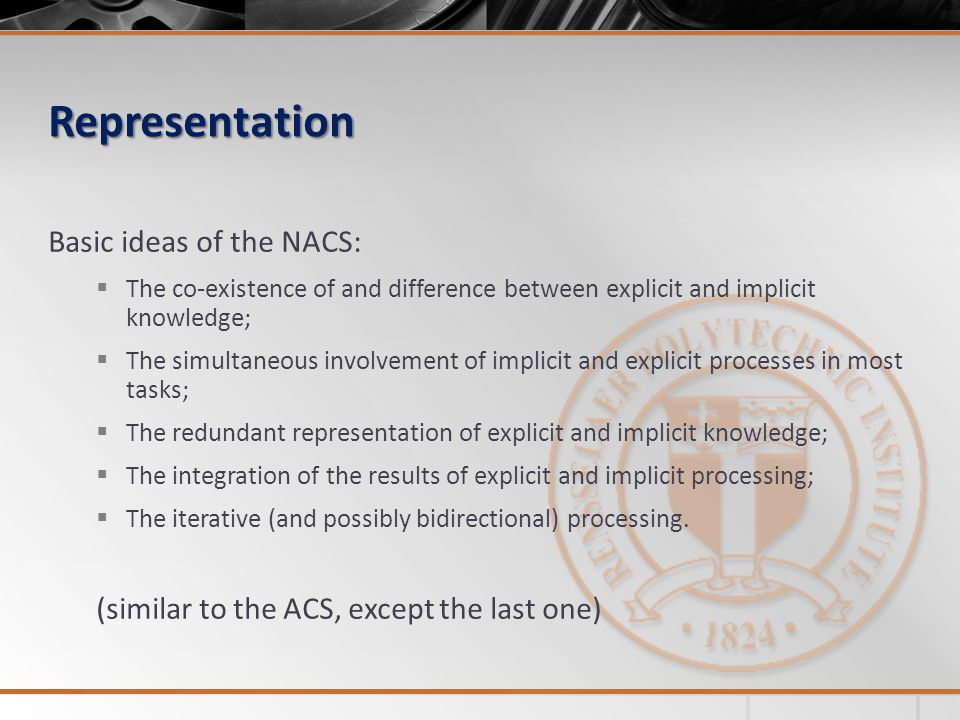 Representation Basic ideas of the NACS:  The co-existence of and difference between explicit and implicit knowledge;  The simultaneous involvement of implicit and explicit processes in most tasks;  The redundant representation of explicit and implicit knowledge;  The integration of the results of explicit and implicit processing;  The iterative (and possibly bidirectional) processing.