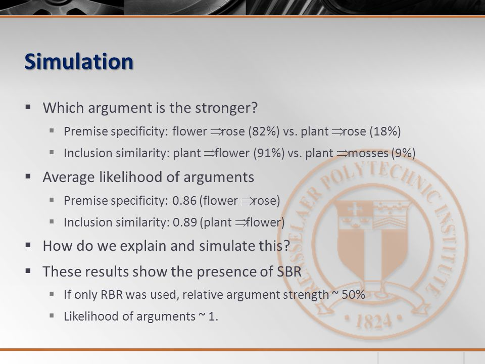 Simulation  Which argument is the stronger.  Premise specificity: flower  rose (82%) vs.