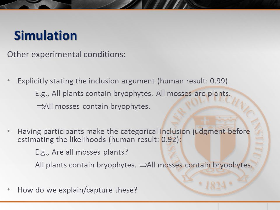 Simulation Other experimental conditions: Explicitly stating the inclusion argument (human result: 0.99) E.g., All plants contain bryophytes. All moss