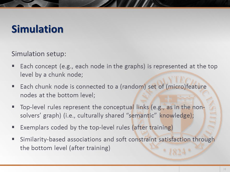 Simulation Simulation setup:  Each concept (e.g., each node in the graphs) is represented at the top level by a chunk node;  Each chunk node is connected to a (random) set of (micro)feature nodes at the bottom level;  Top-level rules represent the conceptual links (e.g., as in the non- solvers' graph) (i.e., culturally shared semantic knowledge);  Exemplars coded by the top-level rules (after training)  Similarity-based associations and soft constraint satisfaction through the bottom level (after training) H