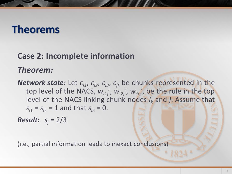 Theorems Case 2: Incomplete information Theorem: Network state: Let c i1, c i2, c i3, c j, be chunks represented in the top level of the NACS, w i1j r, w i2j r, w i3j r, be the rule in the top level of the NACS linking chunk nodes i k and j.