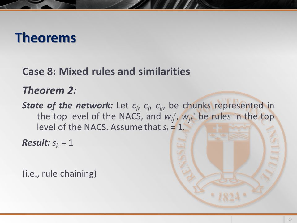 Theorems Case 8: Mixed rules and similarities Theorem 2: State of the network: Let c i, c j, c k, be chunks represented in the top level of the NACS, and w ij r, w jk r be rules in the top level of the NACS.