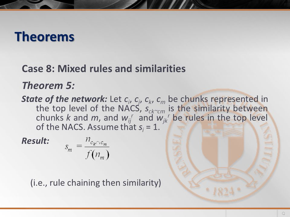 Theorems Case 8: Mixed rules and similarities Theorem 5: State of the network: Let c i, c j, c k, c m be chunks represented in the top level of the NACS, s ck~cm is the similarity between chunks k and m, and w ij r and w jk r be rules in the top level of the NACS.