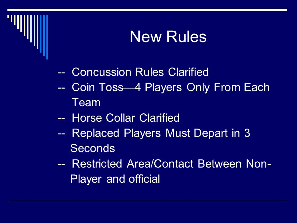Points of Emphasis  Concussion Recognition  Illegal Helmet Contact  Heat Illness and Hydration  Assisting The Runner  Sportsmanship and Public Address Announcers