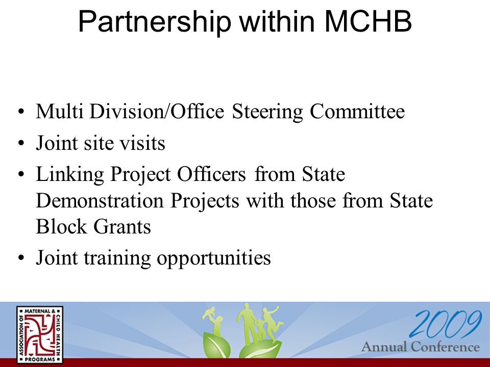Partnership within MCHB Multi Division/Office Steering Committee Joint site visits Linking Project Officers from State Demonstration Projects with those from State Block Grants Joint training opportunities