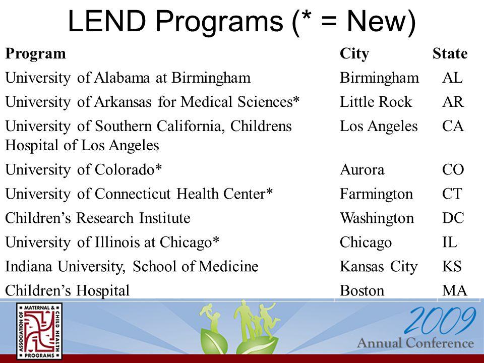 LEND Programs (* = New) ProgramCityState University of Alabama at BirminghamBirminghamAL University of Arkansas for Medical Sciences*Little RockAR Uni