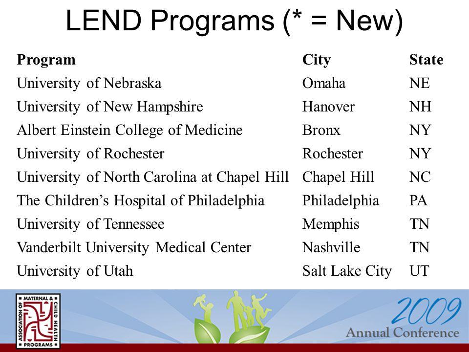 LEND Programs (* = New) ProgramCityState University of NebraskaOmahaNE University of New HampshireHanoverNH Albert Einstein College of MedicineBronxNY