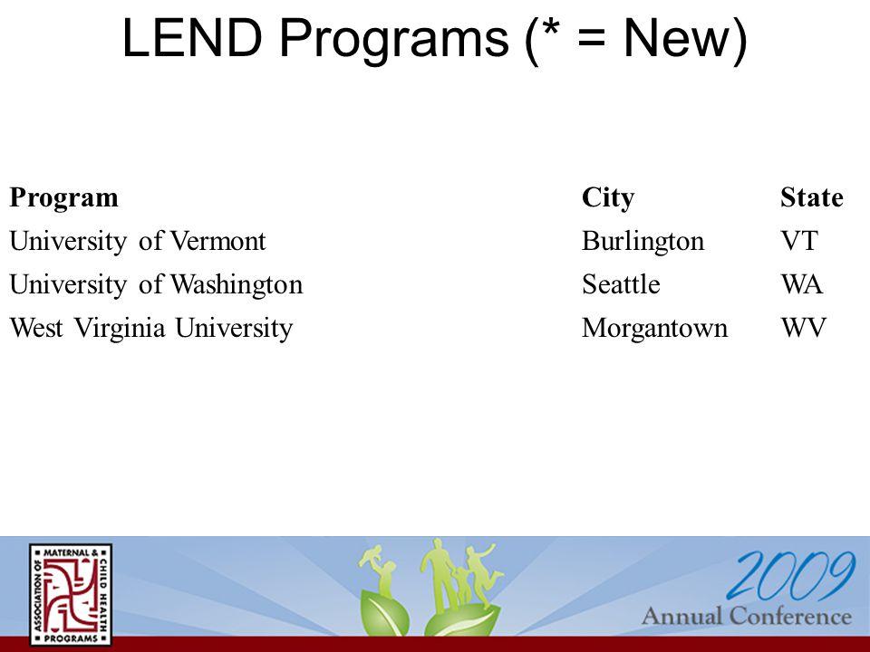 LEND Programs (* = New) ProgramCityState University of VermontBurlingtonVT University of WashingtonSeattleWA West Virginia UniversityMorgantownWV