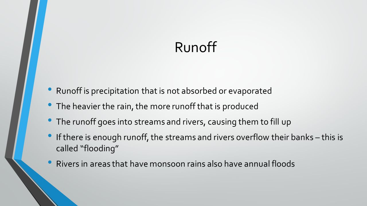 Runoff Runoff is precipitation that is not absorbed or evaporated The heavier the rain, the more runoff that is produced The runoff goes into streams
