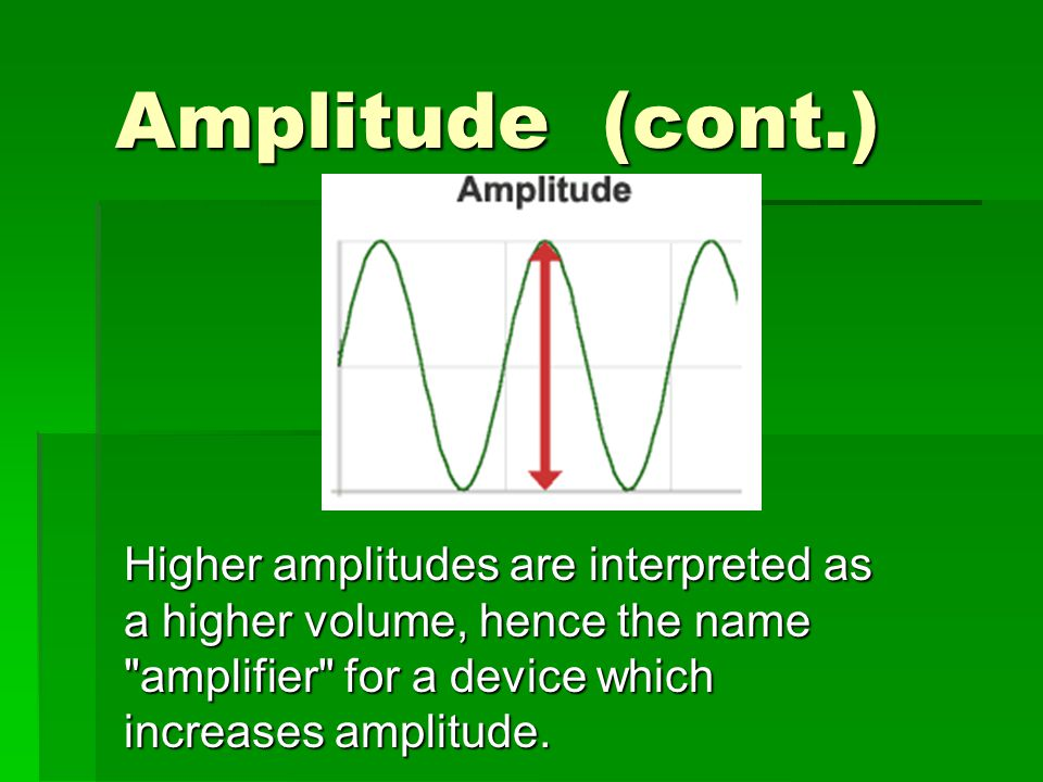 Amplitude (cont.) Higher amplitudes are interpreted as a higher volume, hence the name amplifier for a device which increases amplitude.