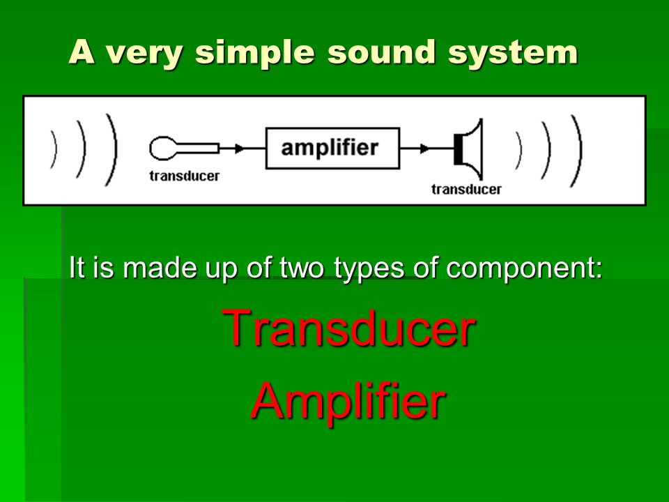 A very simple sound system It is made up of two types of component: TransducerAmplifier
