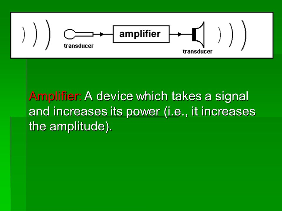 Amplifier: A device which takes a signal and increases its power (i.e., it increases the amplitude).