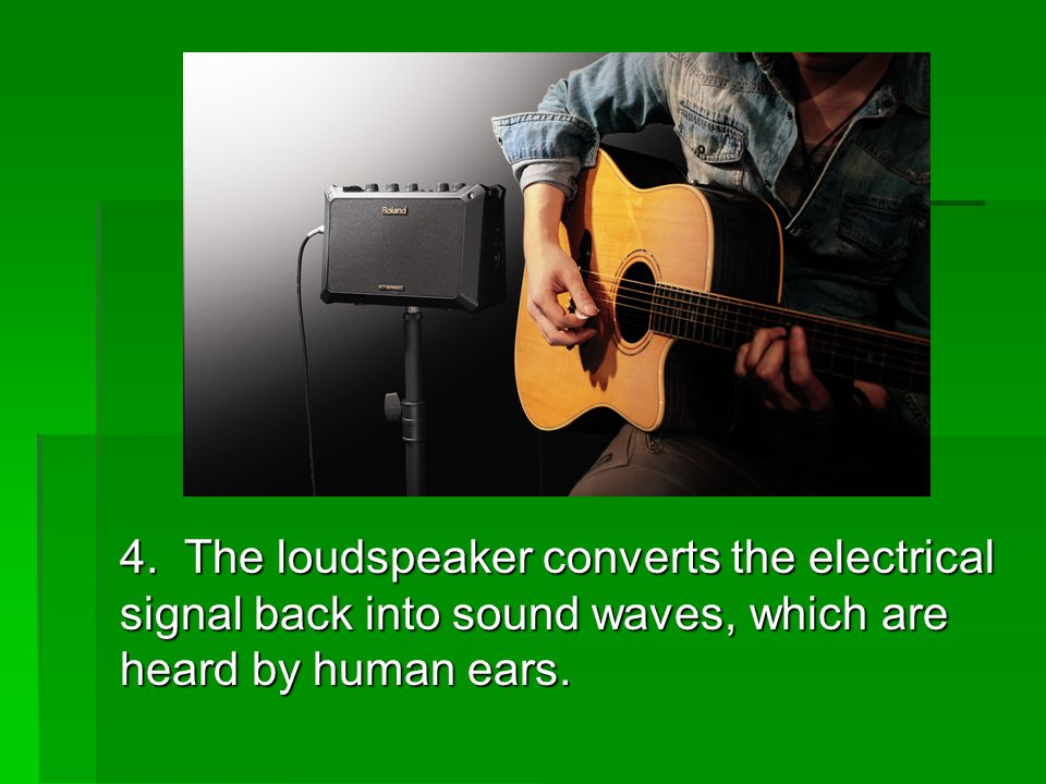 4. The loudspeaker converts the electrical signal back into sound waves, which are heard by human ears.