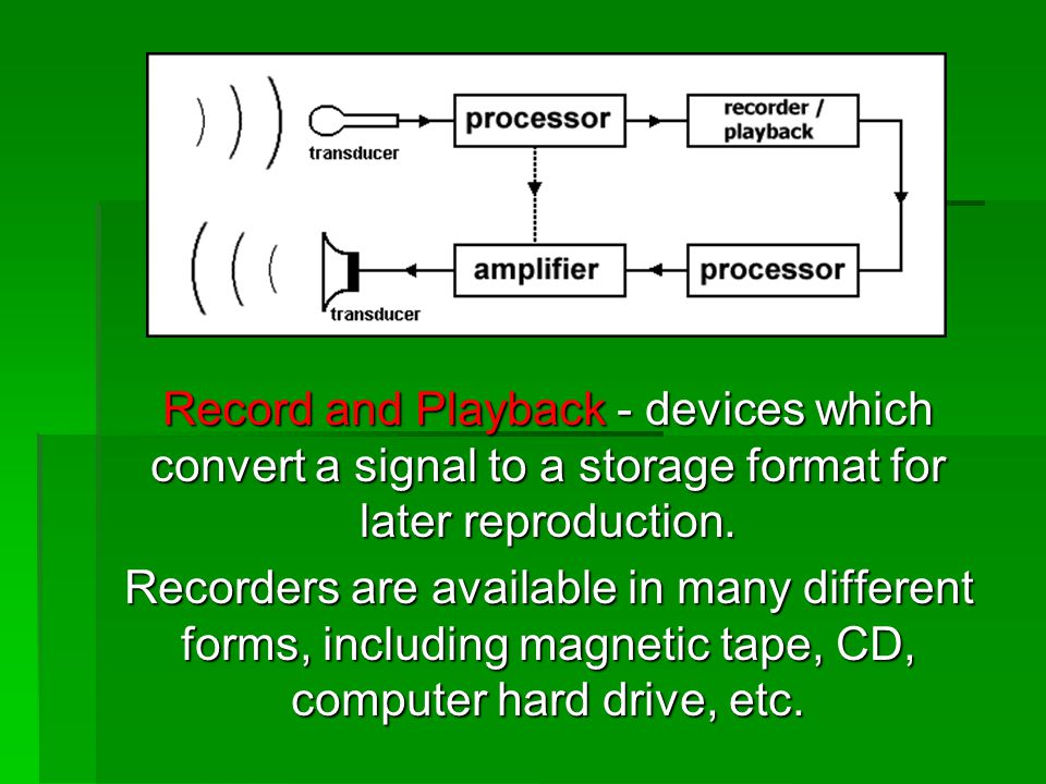 Record and Playback - devices which convert a signal to a storage format for later reproduction.