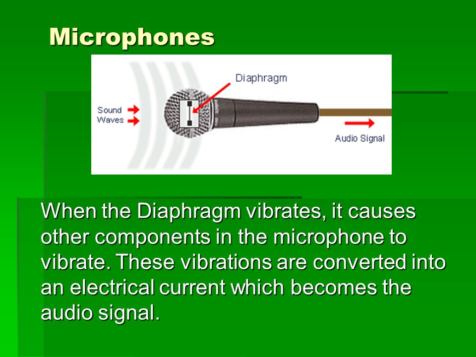 Microphones When the Diaphragm vibrates, it causes other components in the microphone to vibrate.