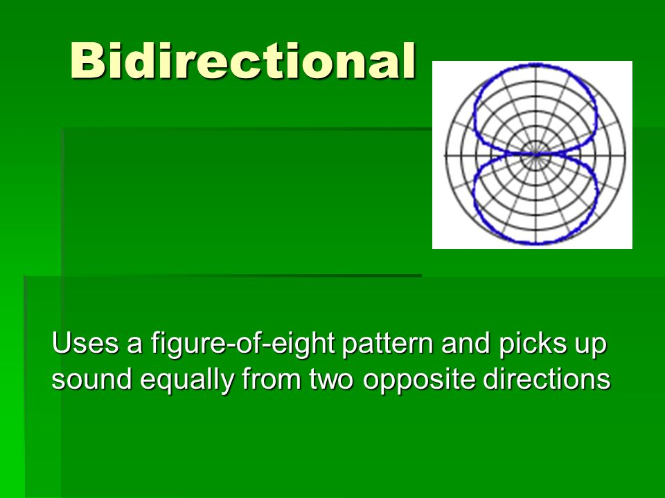Bidirectional Uses a figure-of-eight pattern and picks up sound equally from two opposite directions