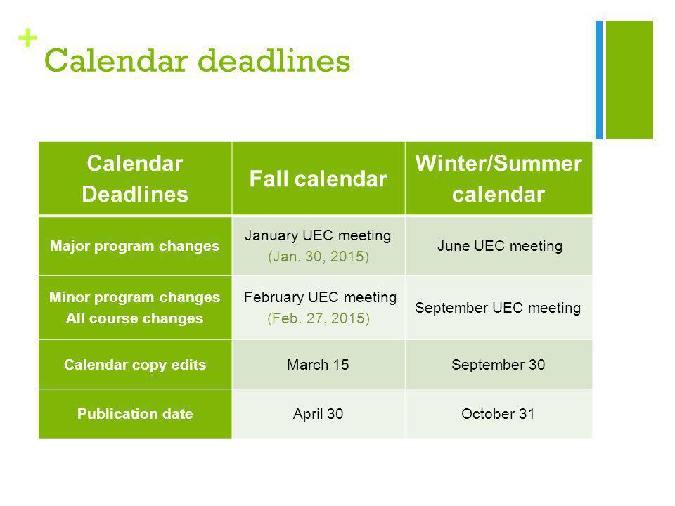 + Calendar deadlines Calendar Deadlines Fall calendar Winter/Summer calendar Major program changes January UEC meeting (Jan.