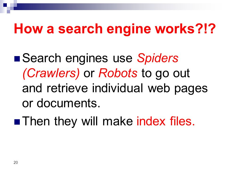 How a search engine works !.