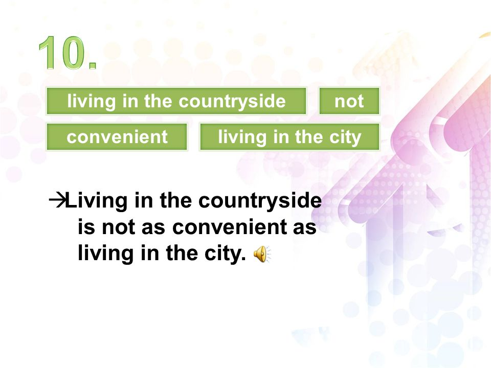 living in the countrysidenot convenient  Living in the countryside is not as convenient as living in the city. living in the city
