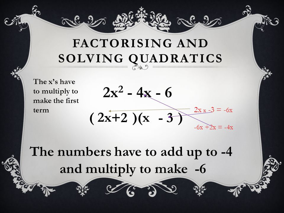 FACTORISING AND SOLVING QUADRATICS 2x 2 - 4x - 6 ( 2x )(x ) The numbers have to add up to -4 and multiply to make -6 +2 - 3 The x's have to multiply t