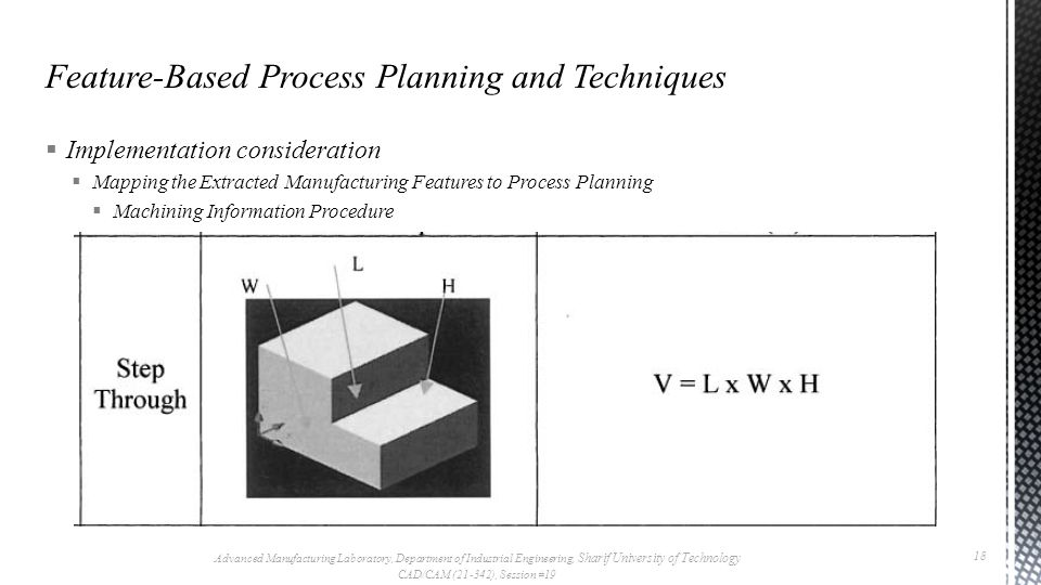  Implementation consideration  Mapping the Extracted Manufacturing Features to Process Planning  Machining Information Procedure  The machining vo