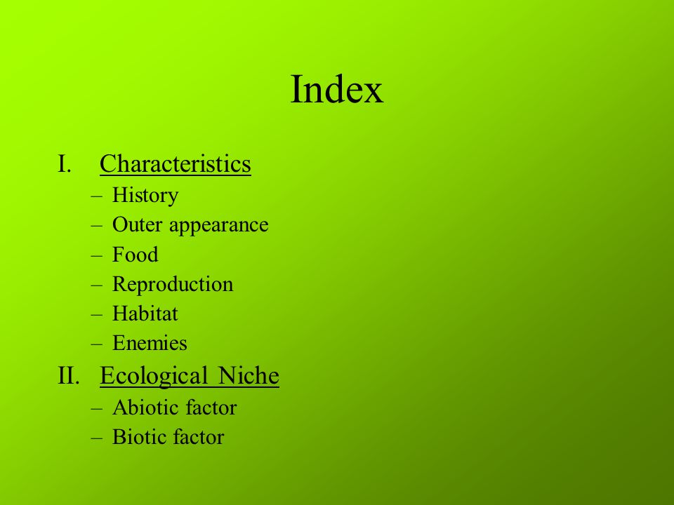 Index I.Characteristics –History –Outer appearance –Food –Reproduction –Habitat –Enemies II.Ecological Niche –Abiotic factor –Biotic factor