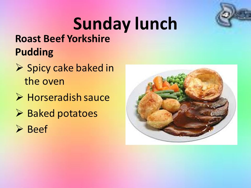 Sunday lunch Roast Beef Yorkshire Pudding  Spicy cake baked in the oven  Horseradish sauce  Baked potatoes  Beef